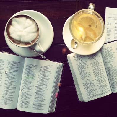 Bibles and coffee